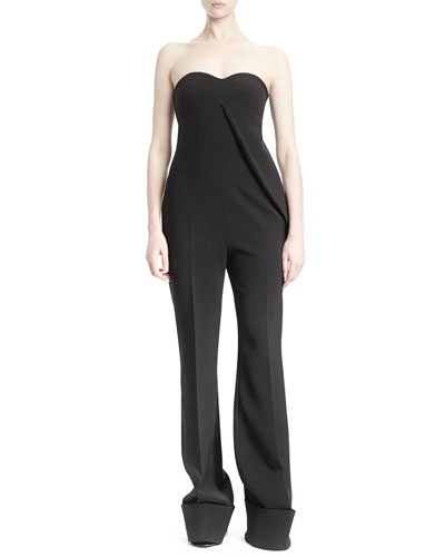 Strapless Draped Cuffed Jumpsuit