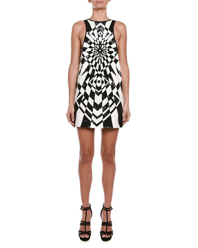 Geometric Allover Sequined Shift Dress