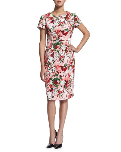 Short-Sleeve Bouquet-Print Sheath Dress