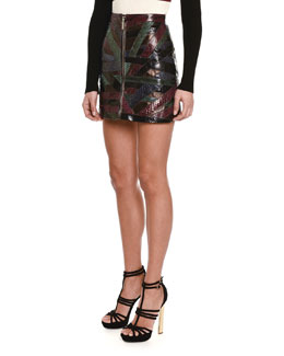 Python Patched-Stripe Mini Skirt