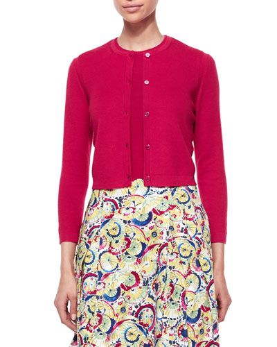Cashmere-Silk Button Cardigan, Red