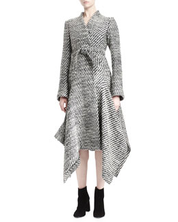 Heavy Tweed Flared Coat
