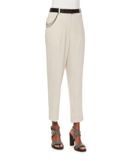Wool-Crepe Non-Pleated Trousers