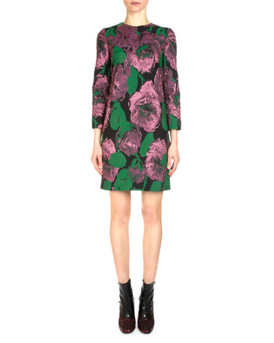 Elly Metallic Floral Jacquard Shift Dress