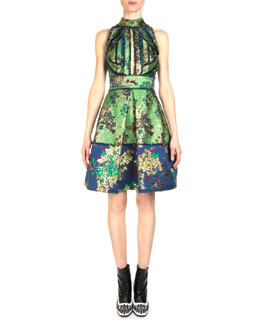 Singja Floral Collage Fringe Fit-And-Flare Dress