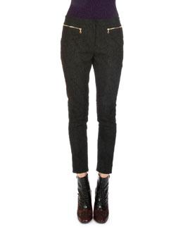 Siena Lace Jacquard Zip-Cuff Trouser
