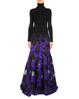 Madda Knit & Floral Fil Coupe Combo Gown