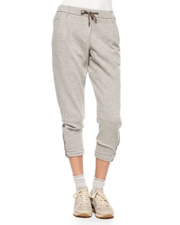 Cashmere-Blend Monili-Cuff Drawstring Jogger Pants, Light Gray