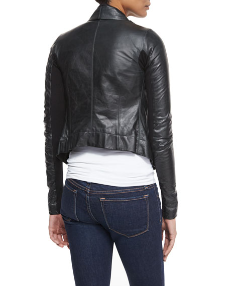 Shawl-Collar Leather Biker Jacket
