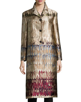Angel-Wings Brocade Three-Button Coat, Multi