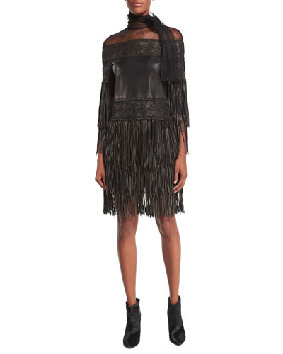 Swiss Dot Tie-Neck Fringed Leather Dress, Black (Nero)