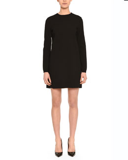 Contrast Inverted-Pleat Shift Dress