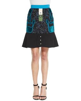 Avery Tweed Flared-Hem Skirt, Black/Blue