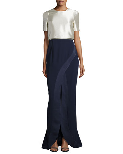 Colorblock Layered Front-Slit Gown