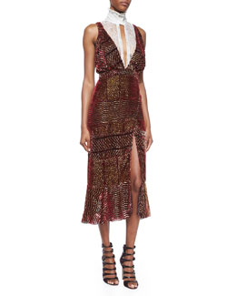 Lace-Inset High-Neck Devore Flounce Dress