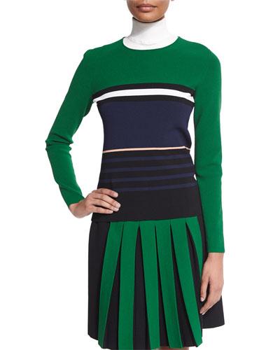 Long-Sleeve Striped Knit Sweater