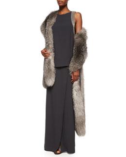 Silver Fox Fur & Cashmere Shawl