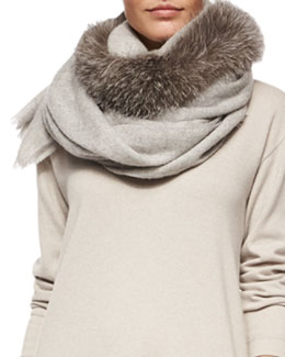 Fox Fur-Trimmed Cashmere Scarf