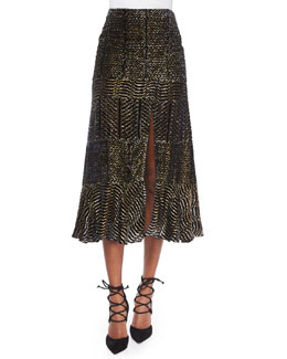 Paneled Velvet Metallic Devore Slit Midi Skirt