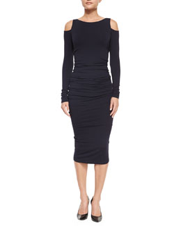 Ruched Cold-Shoulder Sheath Dress