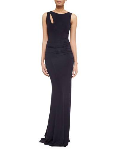 Slash-Detailed Jersey Gown