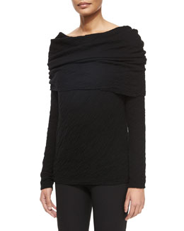 Double-Faced Cashmere/Silk Pillow-Stitched Fold-Over Top