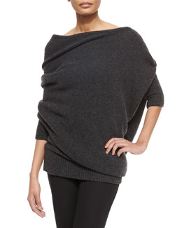 3/4-Sleeve Midweight Cashmere Sweater