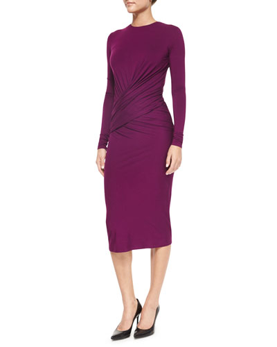 Crisscross Ruched Jersey Midi Dress