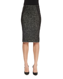 Paneled Tweed & Jersey Pencil Skirt