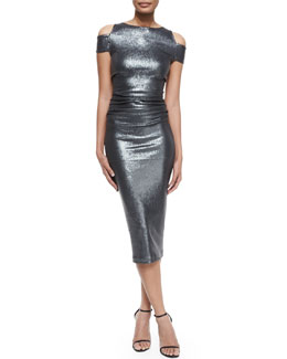 Allover Sequined Cold-Shoulder Sheath Dress