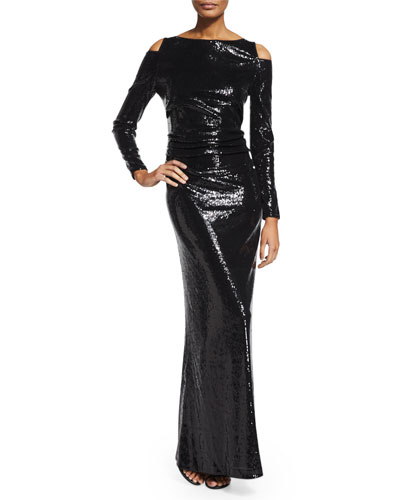Stretch Sequined Cutaway-Shoulder Gown, Black
