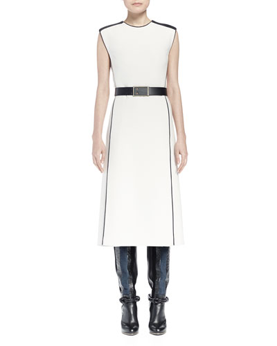 Mastic Contrast Seamed Flyaway Midi Dress