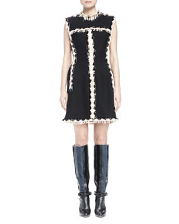 Contrast Vertical Fringe Cocktail Dress