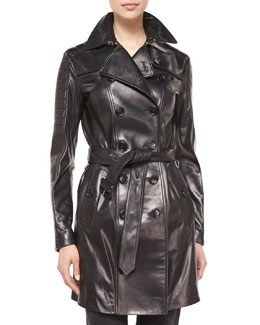 Double-Breasted Leather Trenchcoat, Black