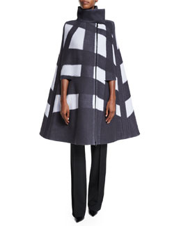 Windowpane Wool Cape Jacket, Oyster/Black