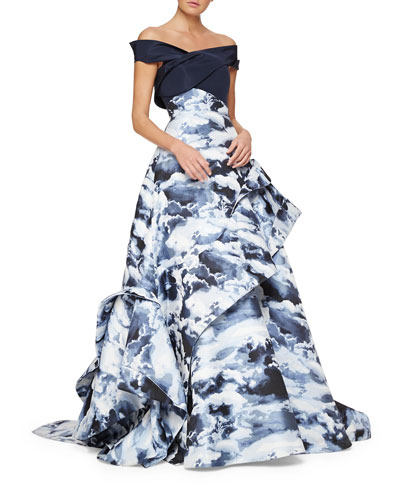 Cloud Jacquard Asymmetric Ruffle Gown