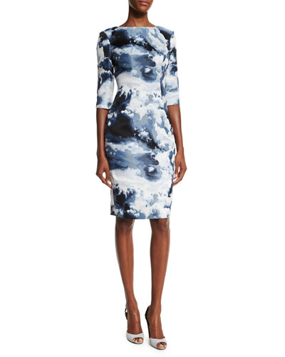Cloud Jacquard 3/4-Sleeve Sheath Dress, Blue/Multi