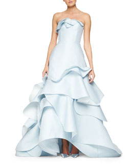 Strapless Wave-Ruffled Full Gown