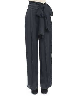 High-Waist Side-Tie Trouser