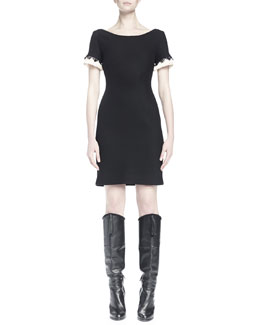 Bateau-Neck Fringe-Cuff Dress