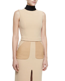 Two-Tone Sleeveless Open-Back Top, Beige/Black