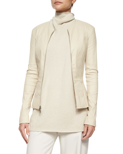 Lanasta Round-Neck Leather Zip Jacket, Rose Cream