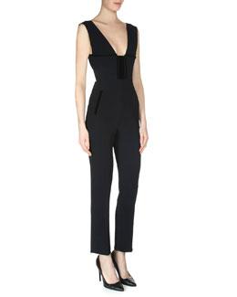 Lowle Plunging-Neckline Jumpsuit, Black