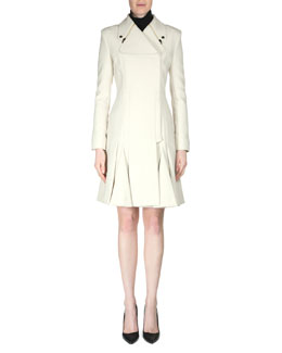 Andrelina Pleated Zip-Lapel Woven Coat