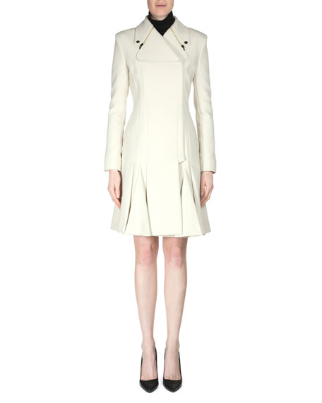 Andrelina Pleated Zip-Lapel Woven Coat