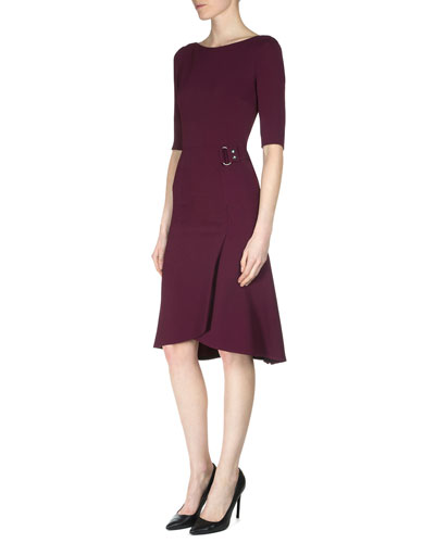 Healey Elbow-Sleeve Side-Drape Dress, Bordeaux