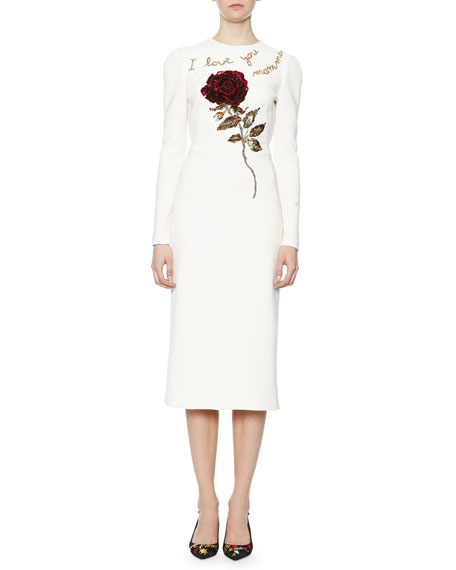 4ebbd25710 Dolce   Gabbana I Love You Mamma Rose Sheath Dress