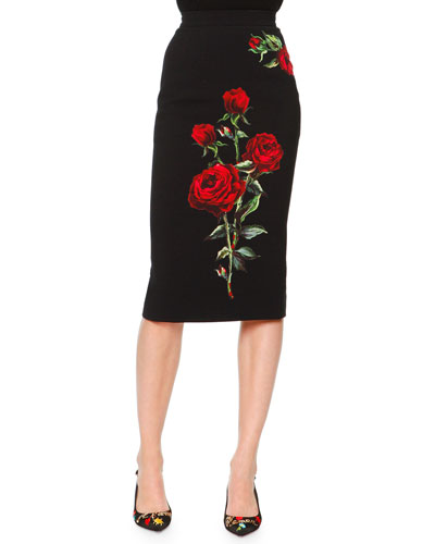 Rose Applique Pencil Skirt