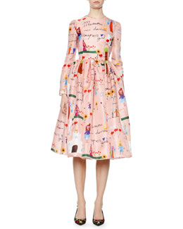 Children's Drawings-Print Fit-And-Flare Dress