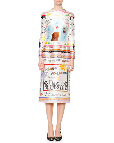 Children's-Drawing Charmeuse Midi Dress